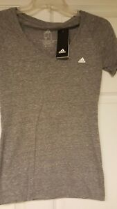 Details About Women S Adidas V Neck Tri Blend T Shirt Color Dark Heather Gray Size Medium