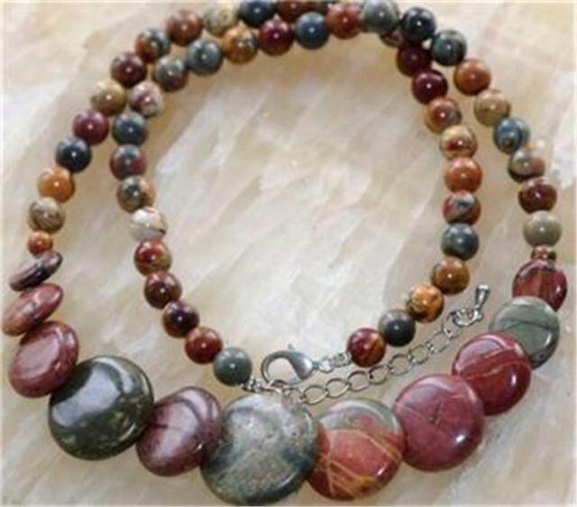 Natural Multicolor Picasso Jasper Coins pendant Necklace 18''AAA