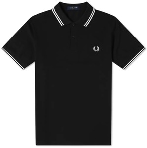 Fred Perry Polo Shirt Black White Blue S M L XL M3600 Slim Fit Pique Twin tipped