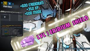 Borderlands 3 Modded LVL 1 ERIDIUM SHIELD +600% ERIDUM & +350% XP ⚛️ XBOX PS4