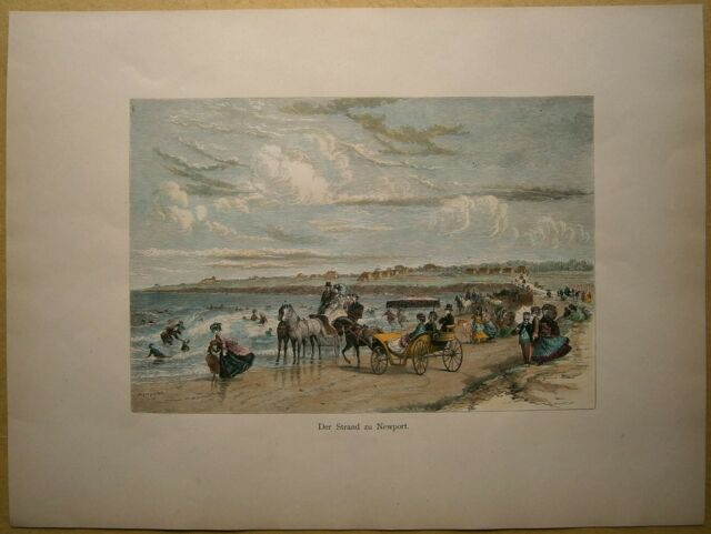 1884 print BEACH AT NEWPORT, RHODE ISLAND (#9)