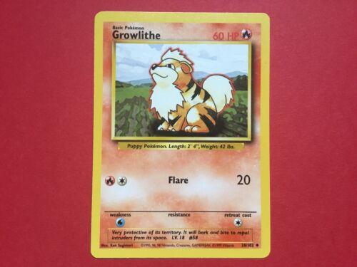 Growlithe 28//102 Pokemon Card 1999 Base Set Uncommon MINT