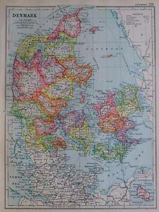 1919-MAP-DENMARK-SLESVIG-ODENSE-FUNEN-SEELAND-COPENHAGEN-VIBORG-JUTLAND