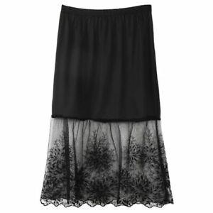 Lady Lace Dress Extender Elastic Knee Slip Skirt A-Line Underskirts Petticoats