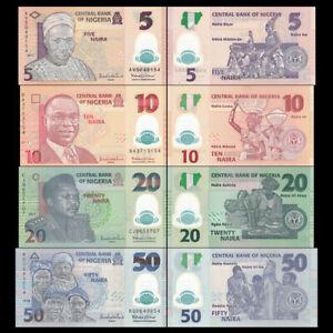 Nigeria-5-10-20-50-Naira-polimero-Conjunto-de-4-billetes-de-2015-2018-4-Piezas-UNC