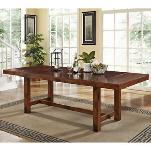 Extra Large Dining Table Rustic Adjustable Wood Expandable
