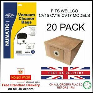 Pour-Wellco-CV15-CV16-CV17-Cylindre-Aspirateur-Poussiere-Sacs-Papier-20-Paquet