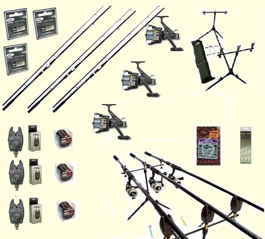Carp Fishing Set 3 NGT Rods 3 NGT Reels 3 Alarms Rod Pod Bait Rigs Hooks