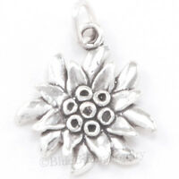 3d Edelweiss Flower Garden Bracelet Charm Pendant Solid 925 Sterling Silver