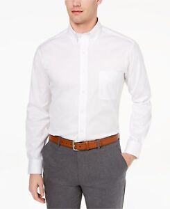 $111 CLUB ROOM Men's REGULAR-FIT WHITE LONG-SLEEVE BUTTON DRESS SHIRT 15.5 34/35 636189115107