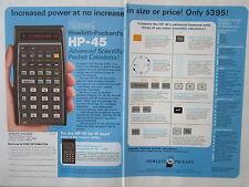7/1973 PUB HP HEWLETT PACKARD HP-45 SCIENTIFIC CALCULATOR CALCULATRICE AD