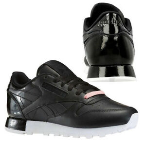 Details about Reebok CL Classic Leather Matte Shine Womens Trainers Lace Up Black AR0850 B30A