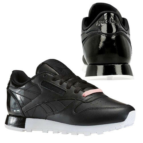 d7a6d0d7348 Reebok CL Leather Matte Shine Black White Womens Casual Shoes SNEAKERS  Ar0850 UK 4