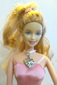 Barbie-Original-Doll-Curly-red-hair-pink-dress-with-net-skirt-amp-high-heels