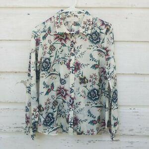 Ann-Taylor-LOFT-White-Pink-Floral-Print-Silk-Cotton-Top-Shirt-Blouse-Size-Small