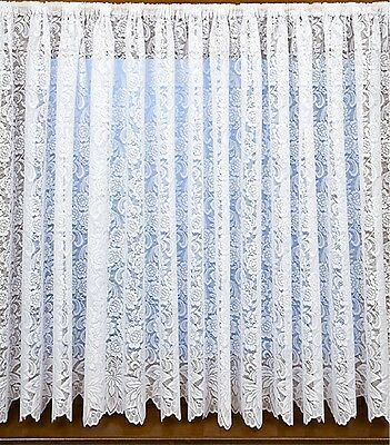 4162 WHITE NET CURTAIN MODERN DOOR NETS TRADITIONAL FLORAL LACE ROSE FLOWER