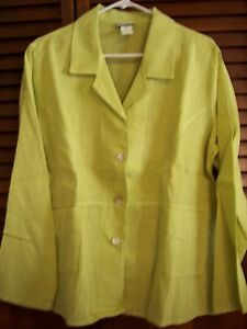 Or Front size Shirt Linen Green Button M Jacket q7zAppw