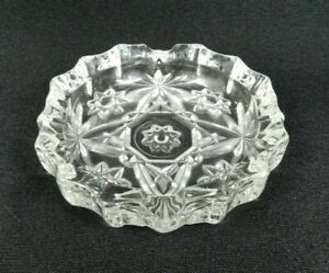 """Vintage Anchor Hocking Early American Prescut Ashtray 4"""" Clear Glass"""