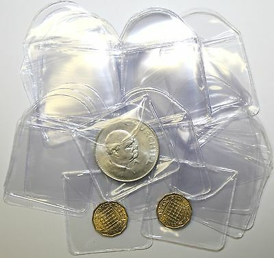 """Plastic Coin Envelopes or Holders 2"""" x 2"""" With Tuck in Flap x100"""