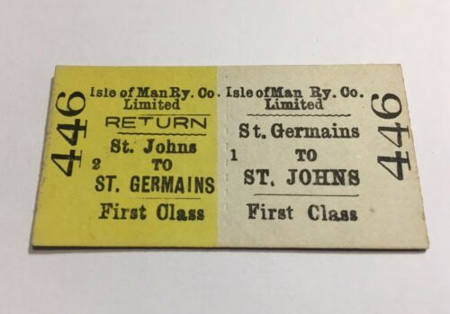 Vintage 1970s Isle of Man Railway Train Ticket ST JOHNS ST GERMAINS First 446