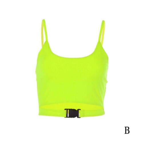 Frauen Buckle Vest Flimmerkiste Crop Top Bloße Ineinander Greifen T Shirt C Z3I6