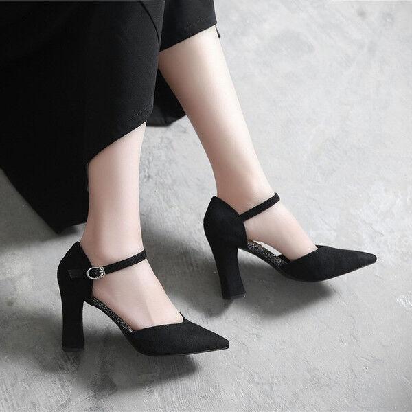 Decolte scarpe donna nero tacco quadrato quadrato quadrato 9 cm simil pelle eleganti 9686 34136b