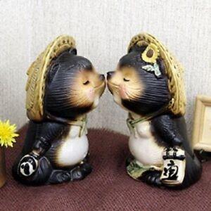 Japanese-Shigaraki-yaki-Lucky-charm-Kiss-Pottery-ware-Tanuki-Raccoon-dog