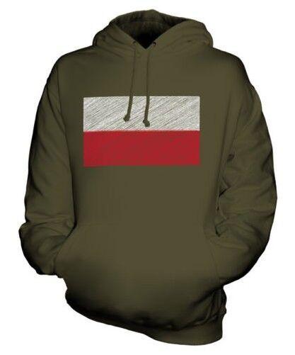 POLAND SCRIBBLE FLAG UNISEX HOODIE TOP GIFT POLSKA POLISH