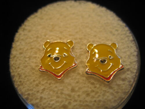 WINNIE THE POOH Screw Back Child Character Earring in Silver COVERED in Acrylic