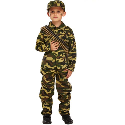 Army Boy Fancy Dress Up Costume English Soldier Uniform War Camouflage Outfit