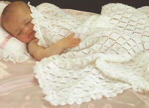 Baby-Shawl-with-scalloped-edge-and-diamond-pattern-Knitting-Pattern-4ply-1084