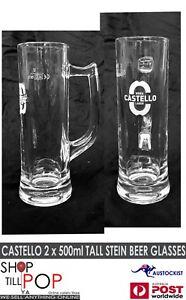 Castello Bira 2 x Skinny Beer Tankard Glasses 500ml  Italian BNIB MAN CAVE BAR