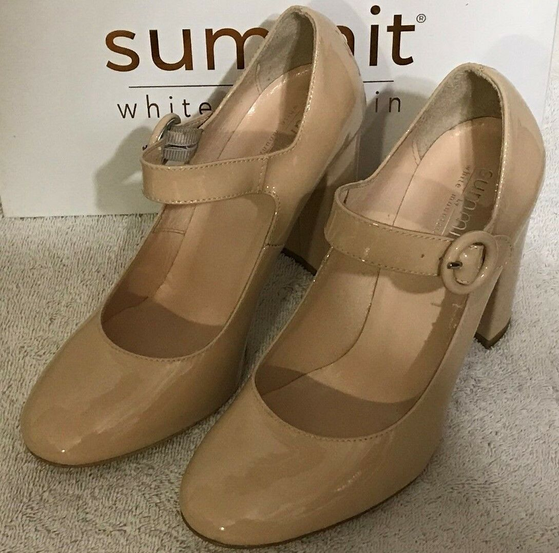 Summit Heels by Weiß Mountain Alivia Nude Patent Leather NIB 4  Heel Buckle