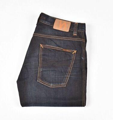 Slim Jim Black Ink new Nudie Mens Regular Straight Fit Dark Blue Jeans
