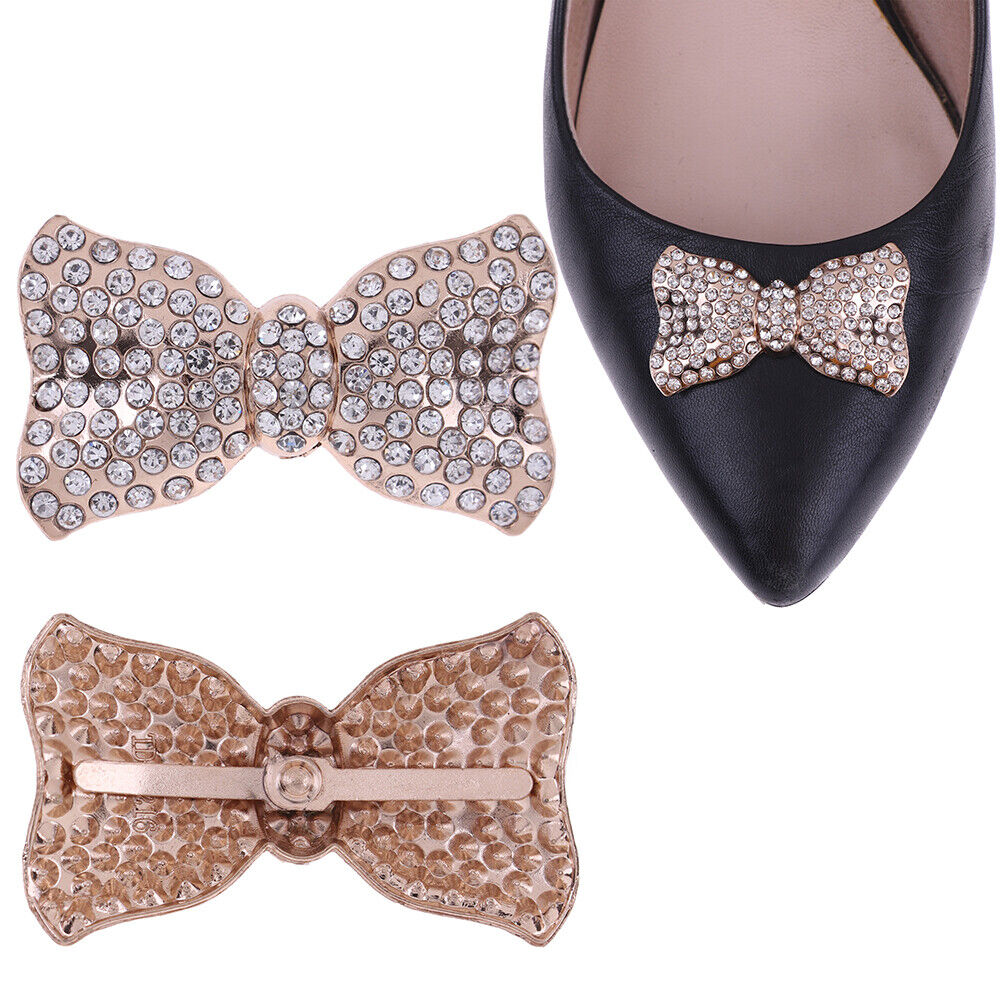 1Pc Rhinestone bowknot metal shoes clip buckle women shoe charm accessories_hg