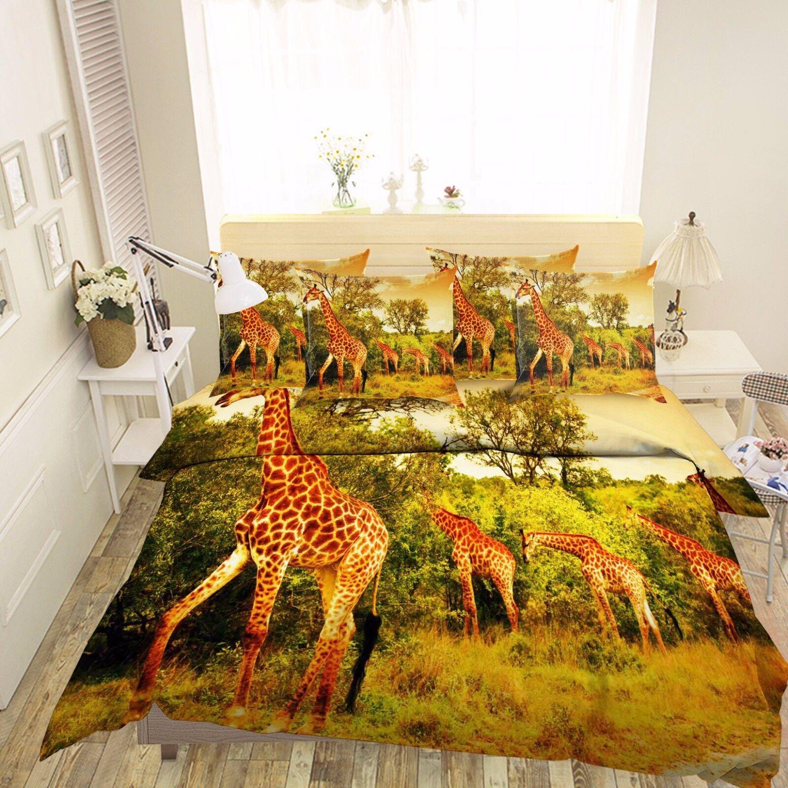 3D Forest Giraffe Groups 5 Bed Pillowcases Quilt Duvet Cover Set Single Queen CA