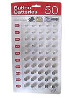 50 Assorted Button Cell Watch Batteries AG1 AG3 AG4 AG10 AG12 AG13 Sealed