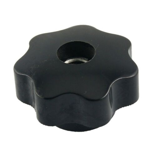 M10 10mm Dia Thread Black Plastic Star Head Clamping Knob Grip Y9O6