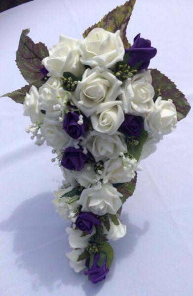 * Nuovo * Nozze Fiori Bouquet Della Sposa Doccia Deep Purple & Ivory Con Gyp £ 35.00