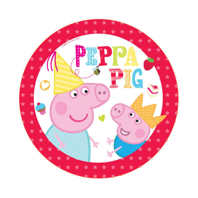 """40 Peppa Pig RED Birthday Party Small 7"""" Dessert Paper Plates"""