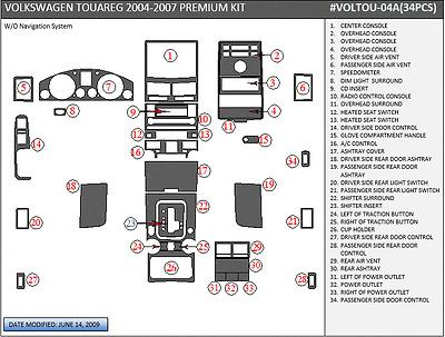 PREMIUM WOOD DASH TRIM KIT 34 PCS FITS VW TOUAREG 2004-2007 ANY COLOR