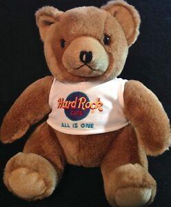 Hard-Rock-Cafe-034-ALL-IS-ONE-034-1990s-TEDDY-BEAR-Plush-w-Neon-HRC-Logo-Tee-T-Shirt