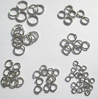 versilbert Ösen offen Verbindungsringe Biegeringe, 100 Ringe 4 mm AD