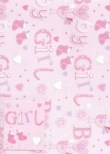 2 X Sheets Of New Arrival Baby Girl Gift Wrap 1 X Matching Tag