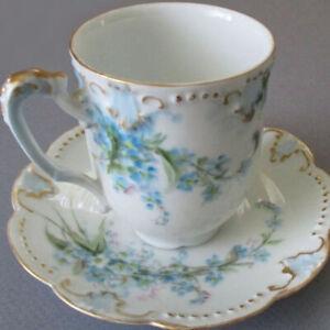 Antique LIMOGES Porcelain Demitasse HP Cup Saucer Blue Forget-Me-Nots GILT Trim