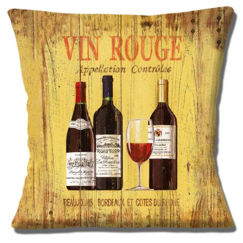 """VIN ROUGE VINTAGE RETRO BEAUJOLAIS BORDEAUX RED WINE 16/"""" Pillow Cushion Cover"""