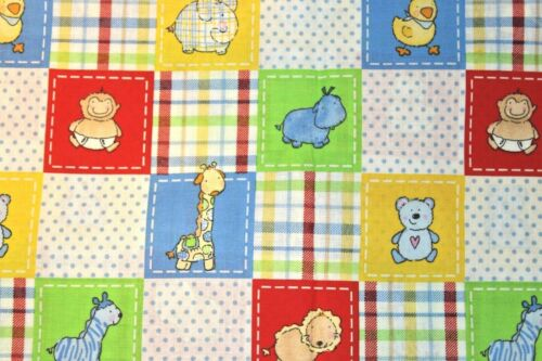 "Sewing Fabric quilt Cotton vintage Nursery Animals baby yellow Design 44/""x1//2 yd"