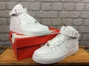 Nike-Da-Uomo-Air-Force-1-Mid-07-Bianco-in-Pelle-Hi-Scarpe-Da-Ginnastica-Basket-molti-formati
