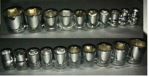 Craftsman-3-8-034-Drive-20-PC-Piece-6-Pt-Point-SAE-AND-METRIC-Chrome-Socket-Set