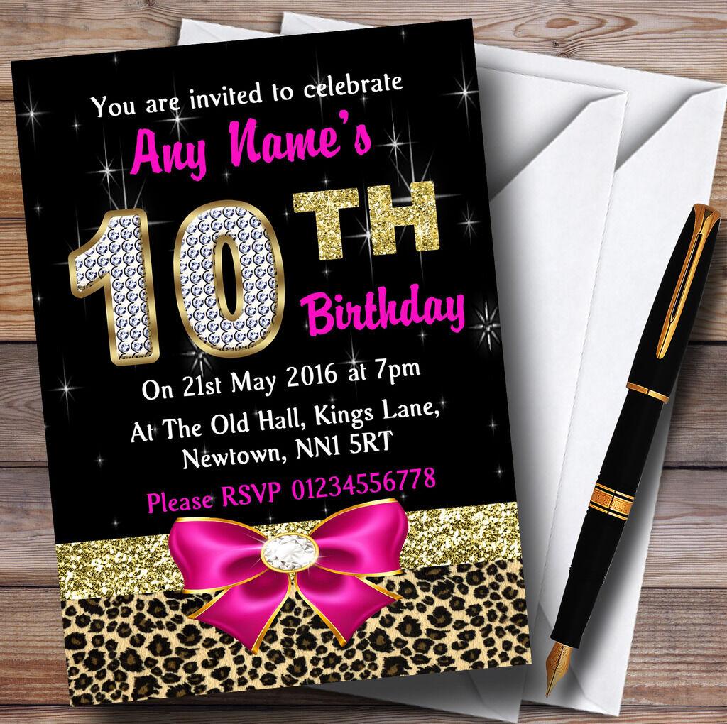 DiaFemmet rose et imprimé léopard 10e anniversaire anniversaire 10e party invitations personnalisées caa7a7